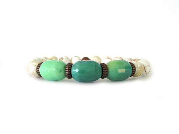 Chrysoprase and Howlite Beaded Bracelet