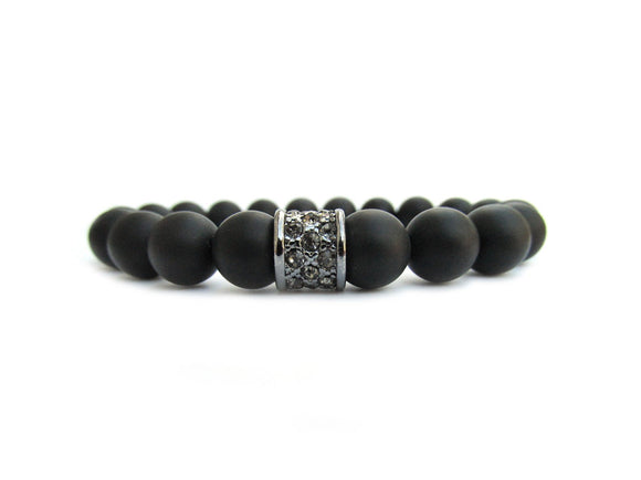 black onyx bracelet with rhinestone focal bead