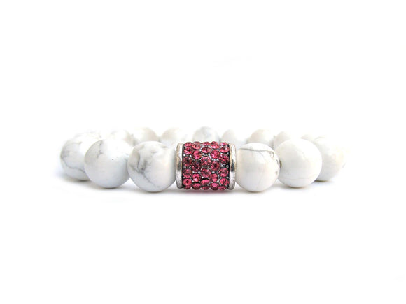 White Howlite Statement Bracelet with Pink Crystal Rhinestone