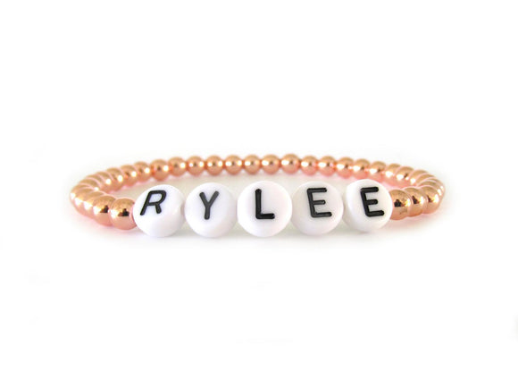 Rose Gold Hematite Name Bracelet