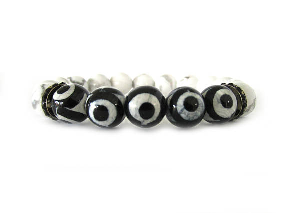 Black and White Agate and Jade Bracelet