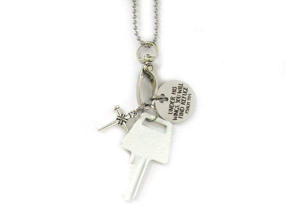 Under His Wings Bible Verse Key Necklace