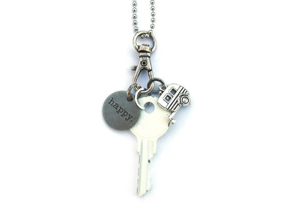 Happy Camper Key Charm Necklace