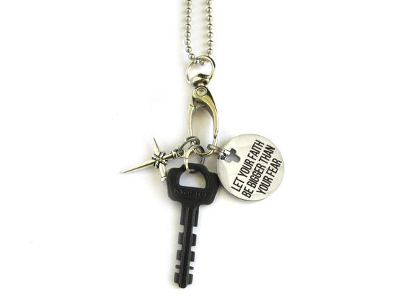 Let Your Faith Be Bigger Than Your Fear Key Necklace
