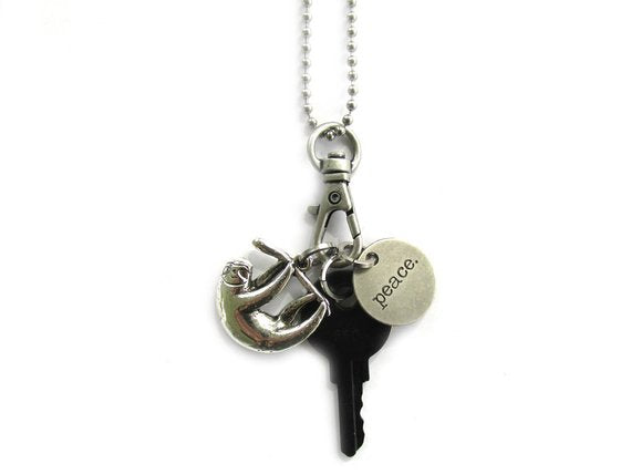 Sloth Key Charm Necklace