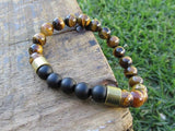 Tiger Eye and Onyx Men's Bracelet