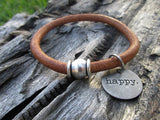 Brown Leather Word Charm Bracelet