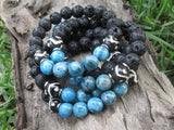 Agate and Lava Rock Bracelet