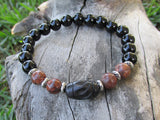As Seen on The Vampire Diaries, Leopardskin and Onyx Unisex Bracelet