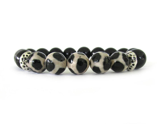 Black and White Tibetan Agate Bracelet