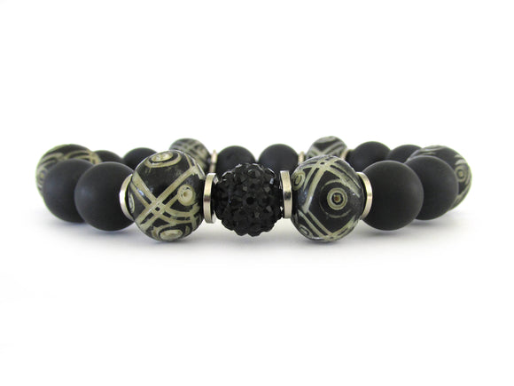 Black Onyx and Bone Women's Bracelet