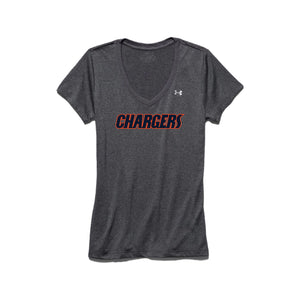 Brokerage Chargers - Womens's UA Tech V-Neck (Carbon Heather)