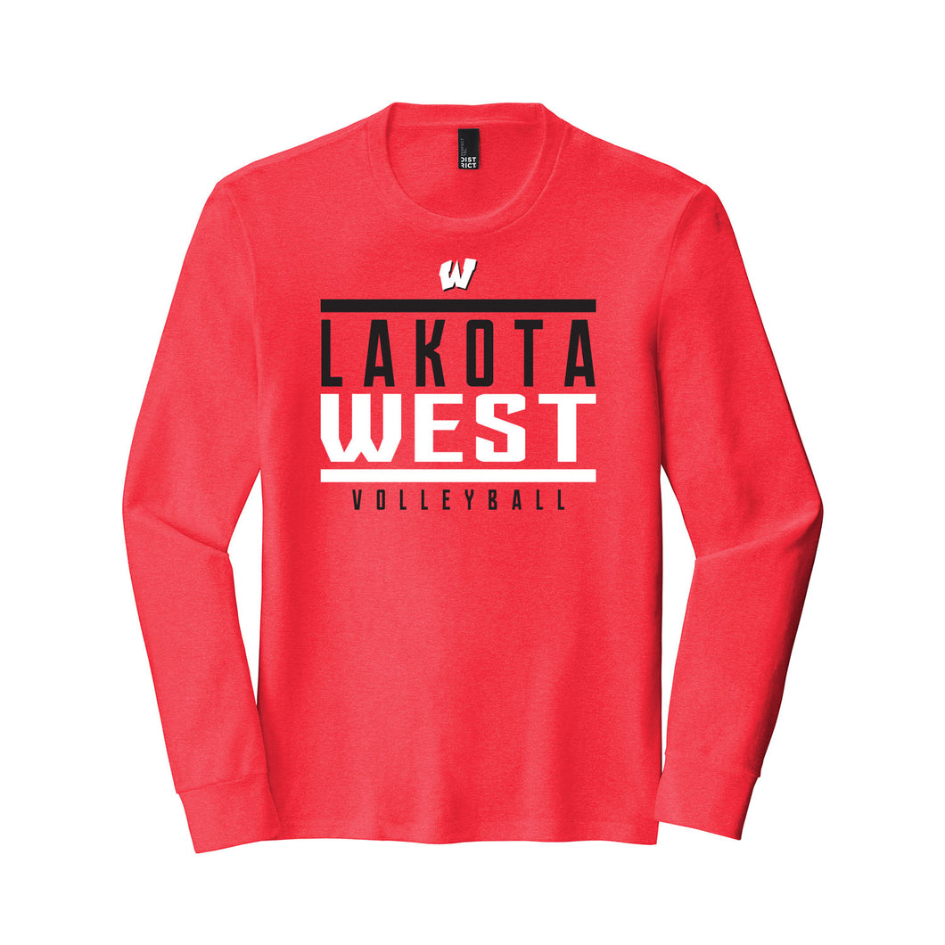 Lakota West Volleyball Long Sleeve Triblend Tee (Red)
