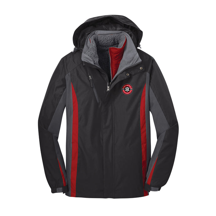 Indian Hill Lacrosse 2021 - Colorblock 3-in-1 Jacket (Black/Red)