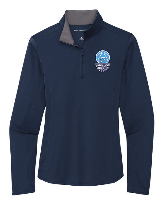 Fairborn Basketball - Ladies Silk Touch ™ Performance 1/4-Zip (Navy/Steel Grey)