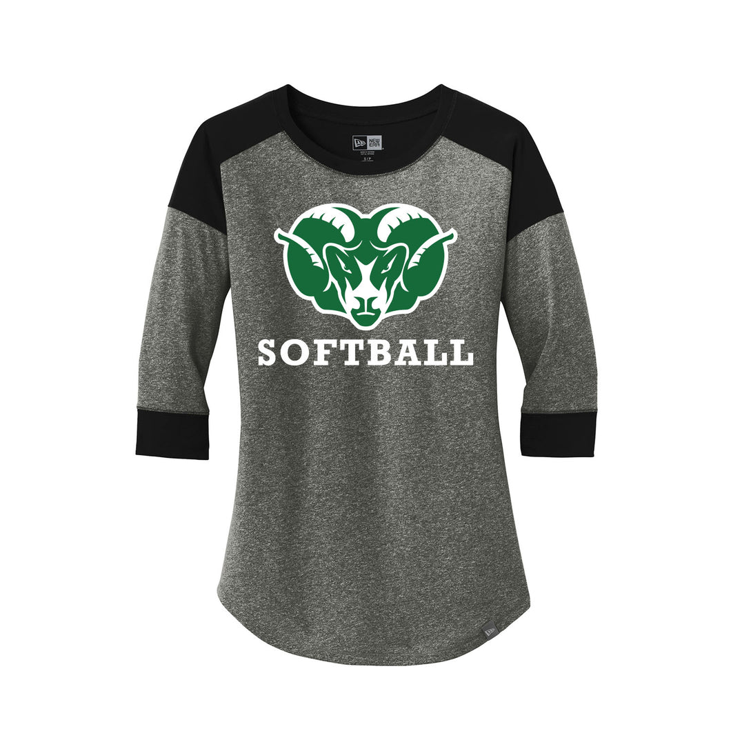 Badin Softball New Era Ladies Heritage Blend 3/4-Sleeve Tee