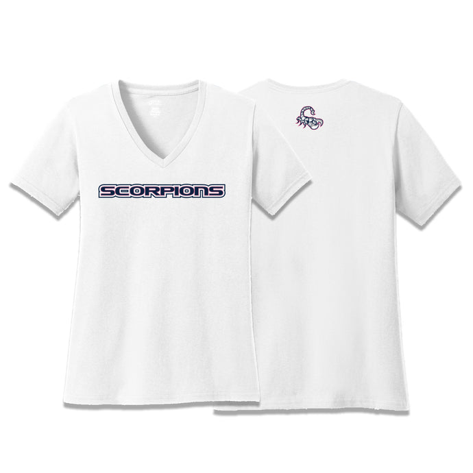 Scorpions Baseball Ladies V-Neck Tee (White)