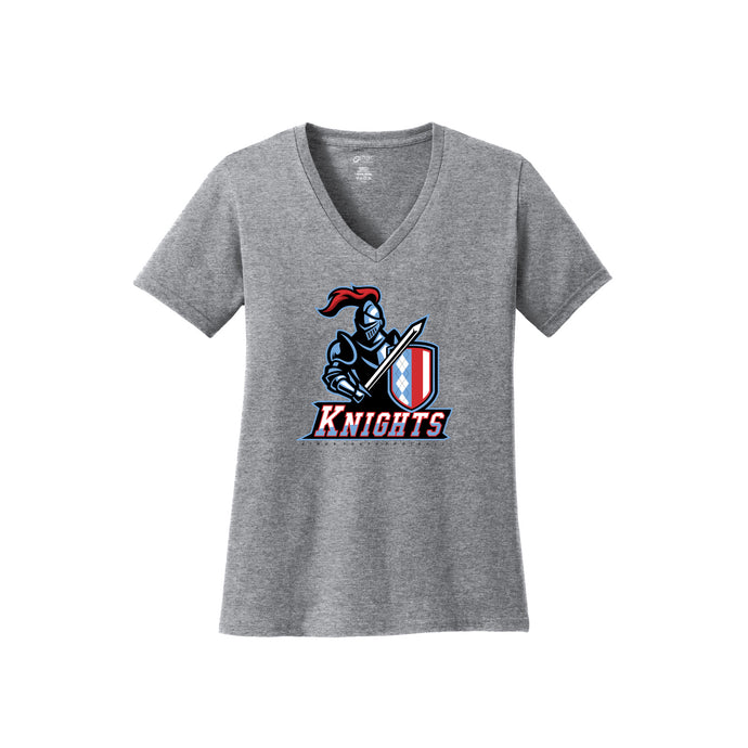 Kings Youth Football - Ladies V-Neck Tee (Athletic Heather)