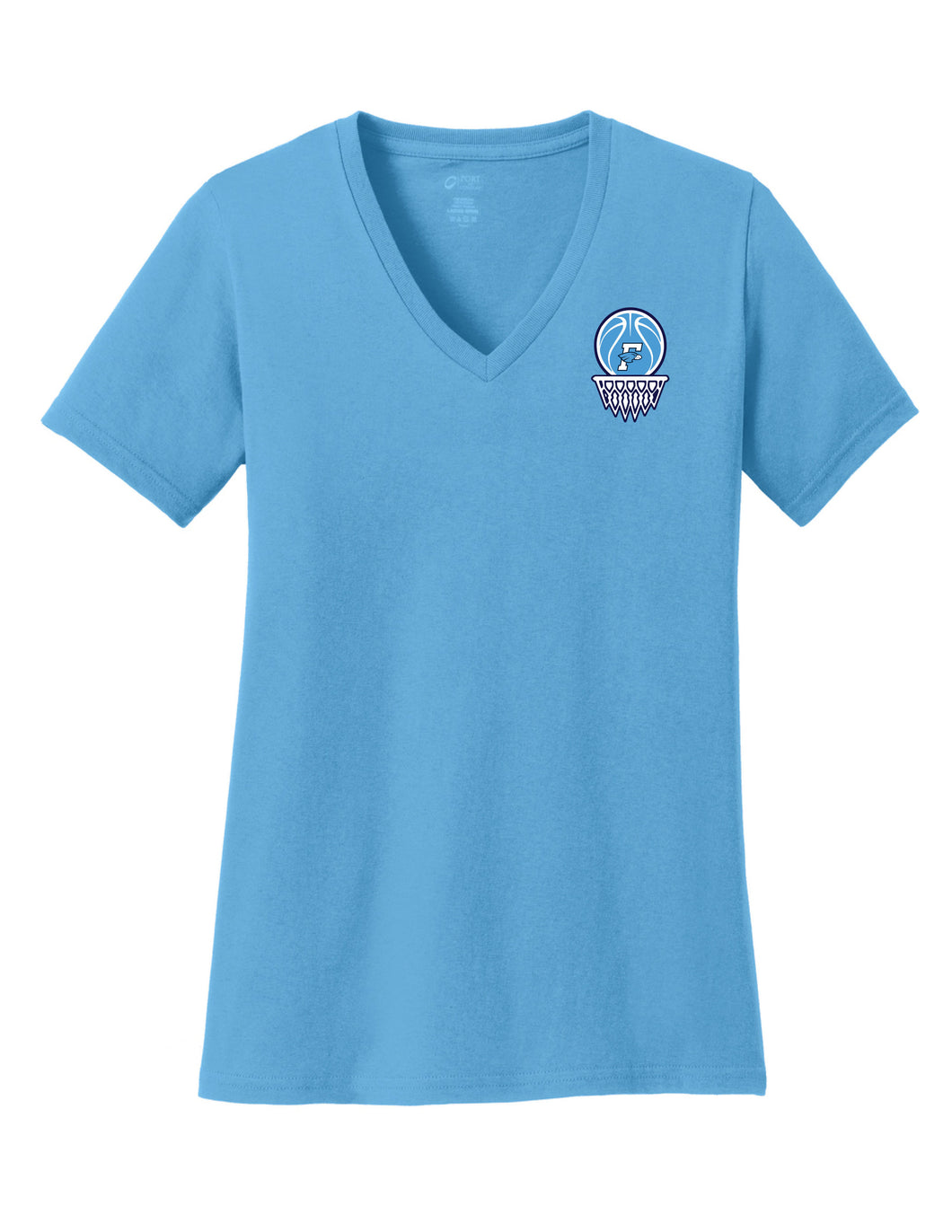 Fairborn Basketball - Ladies V-Neck Tee (Aquatic Blue)