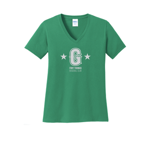 Fort Thomas Generals - Ladies V-Neck Tee (Kelly Green)