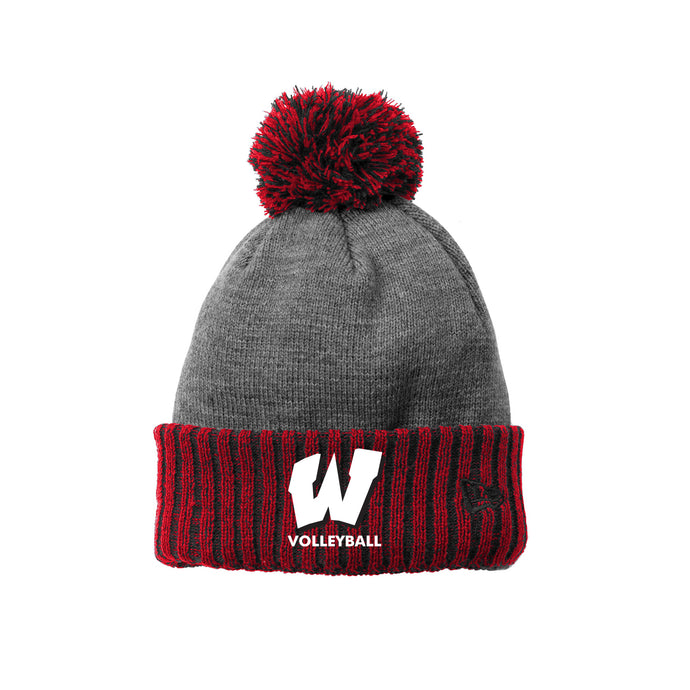 Lakota West Boys Volleyball 2021 - New Era Colorblock Cuffed Beanie (Red)