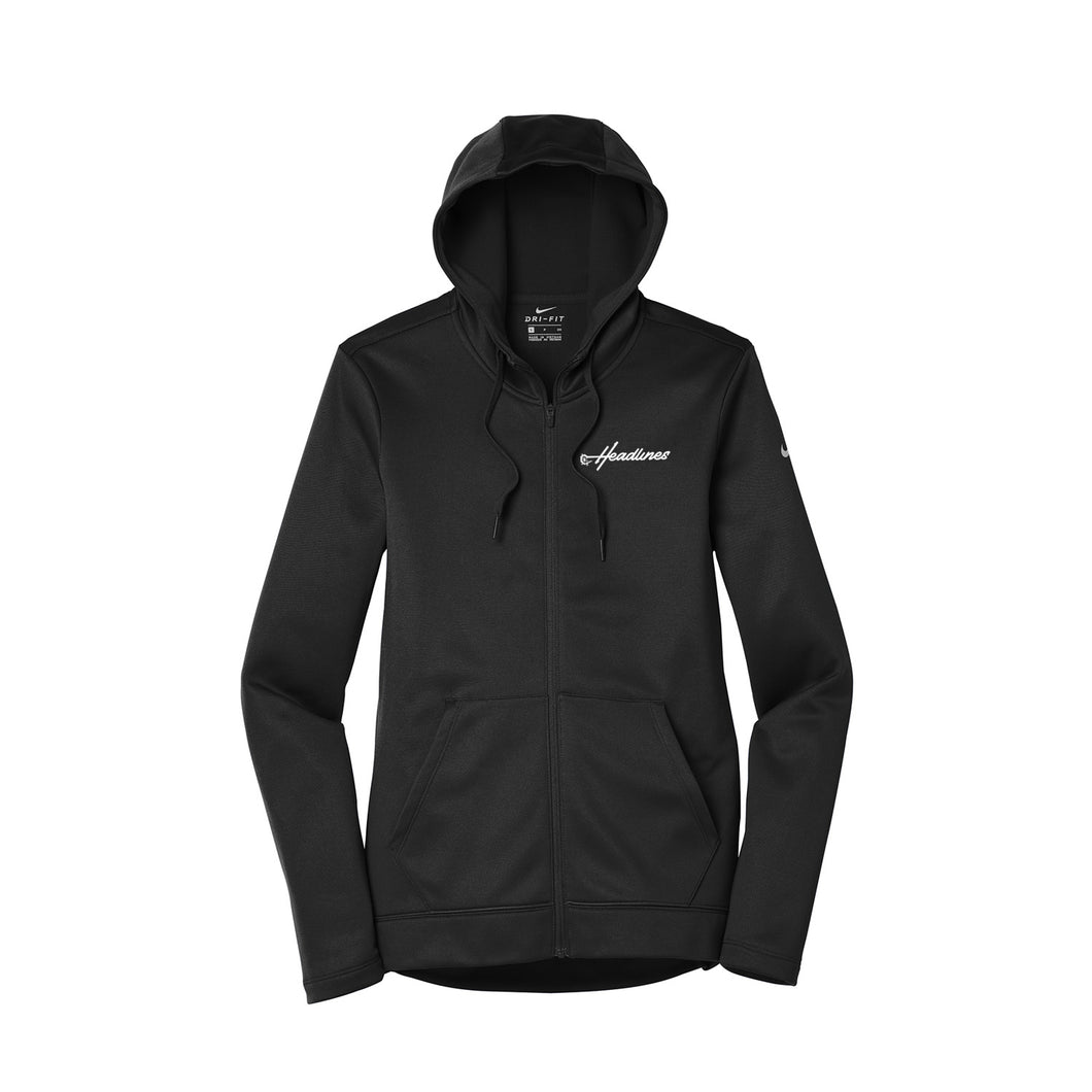 Headlines Lacrosse - Nike Ladies Therma-FIT Full Zip Fleece Hoody (Black)