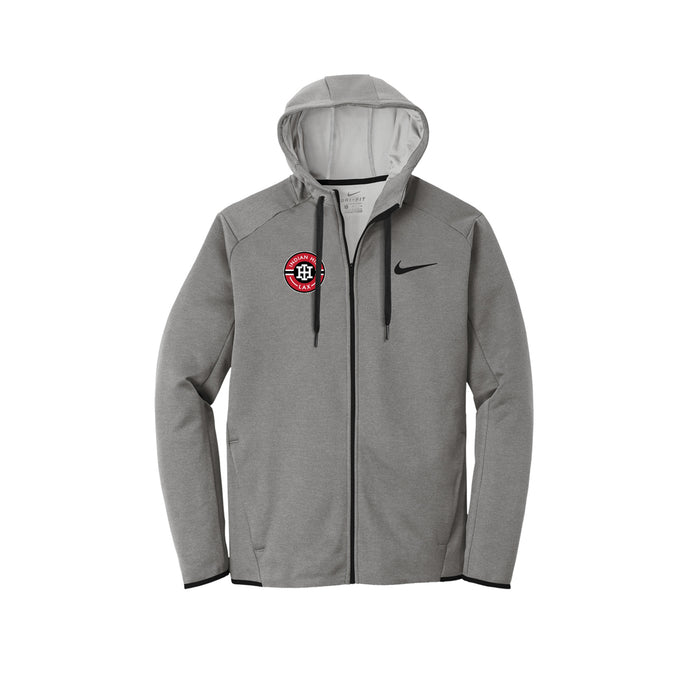 Indian Hill Lacrosse 2021 - Nike Therma-FIT Textured Fleece Full-Zip Hoodie (Grey)
