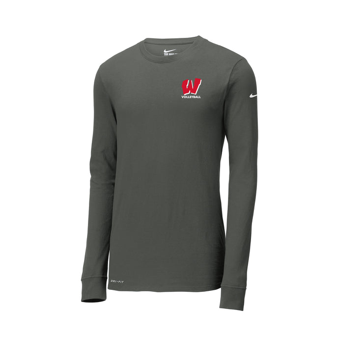 Lakota West Boys Volleyball 2021 - Nike Dri-FIT Cotton/Poly Long Sleeve Tee (Anthracite)