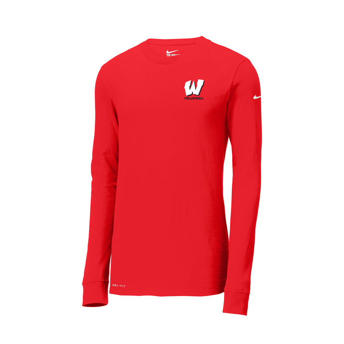 Lakota West Boys Volleyball 2021 - Nike Dri-FIT Cotton/Poly Long Sleeve Tee (Red)