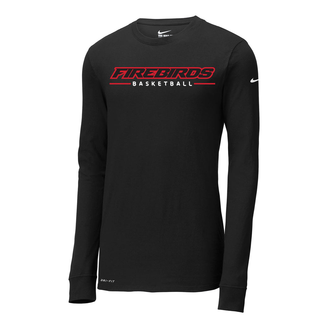 West Basketball Nike Dri-FIT Cotton/Poly LS Tee (Black)