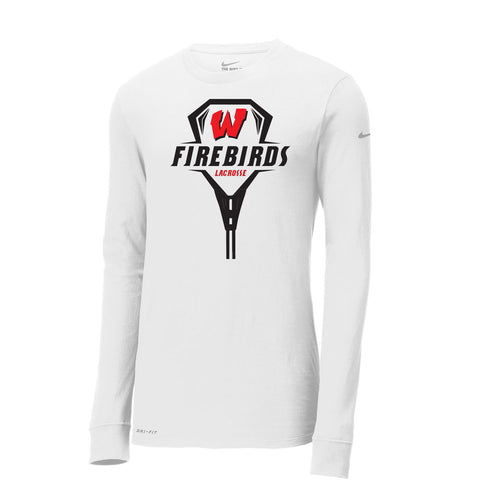 West Lacrosse Nike Dri-FIT LS Tee (White)