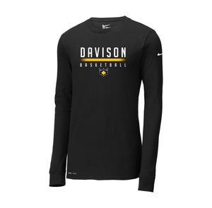 Davison Basketball - Nike Dri-FIT Cotton/Poly LS Tee (Black)