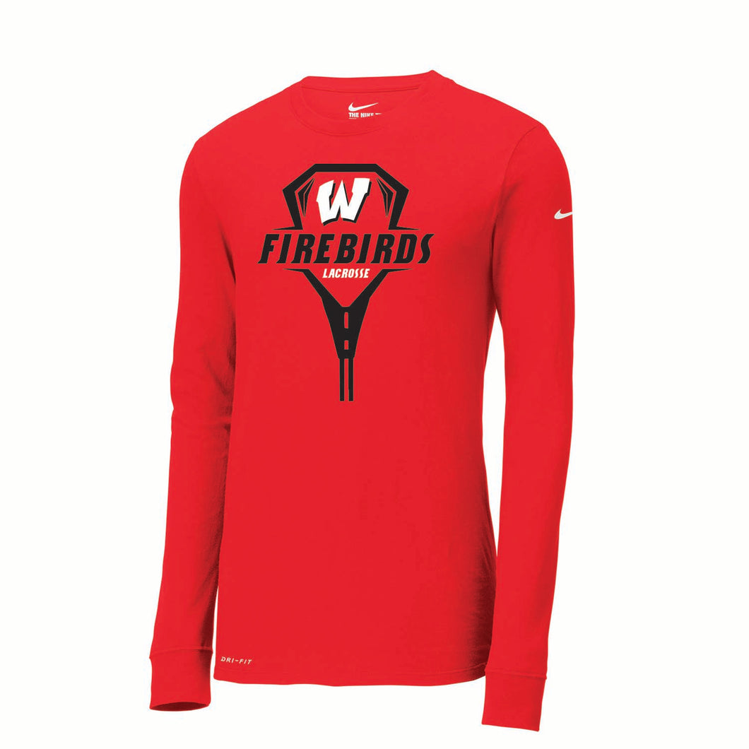 Lakota West Girls Lacrosse Nike Dri-FIT LS Tee (Red)