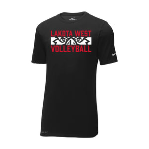 Lakota West Boys Volleyball 2021 - Nike Dri-FIT Cotton/Poly Tee (Black)