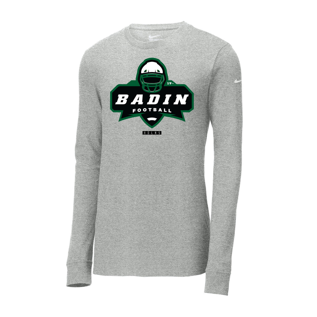 Badin Football Nike Core Cotton Tee LS (Heather Grey)