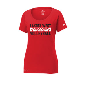 Lakota West Boys Volleyball 2021 - Nike Ladies Dri-FIT Cotton/Poly Scoop Neck Tee (Red)