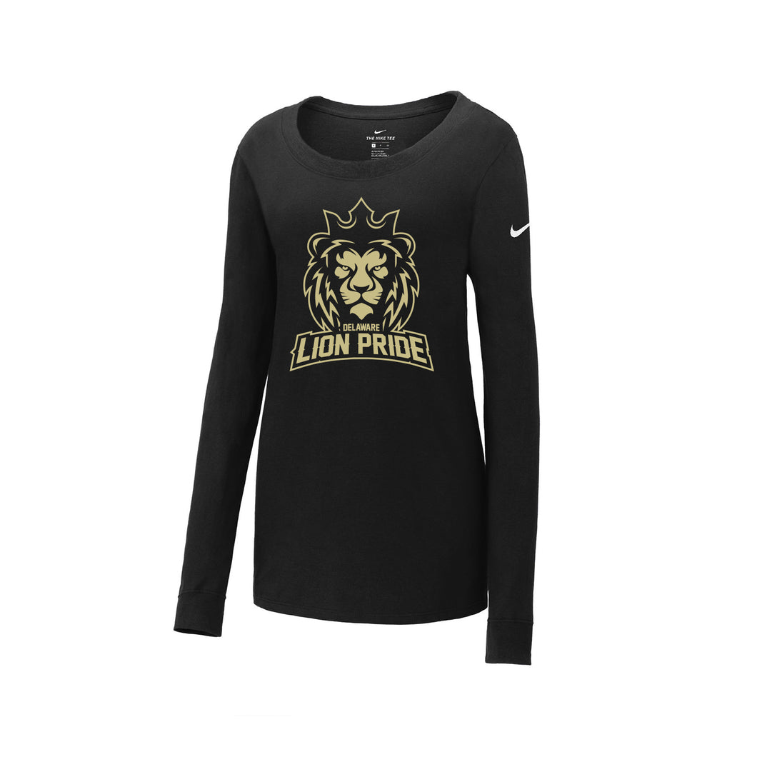 Delaware Lions - Nike Ladies Core Cotton Long Sleeve Scoop Neck Tee (Black)