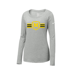 Moeller Hockey - Nike Ladies Core Cotton LS Scoop Neck Tee (Heather Grey)