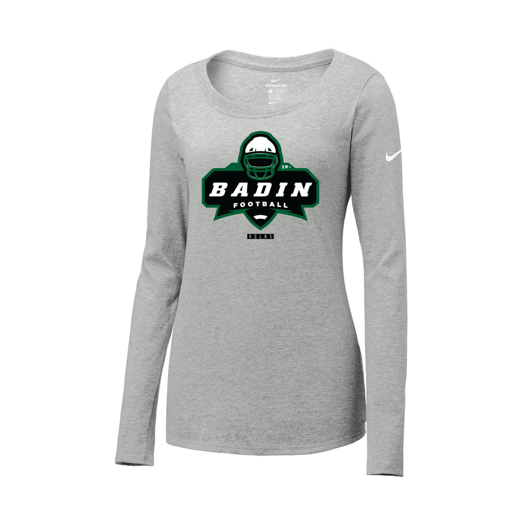 Badin Football Nike Ladies Core Cotton Long Sleeve Scoop Neck Tee (Heather Grey)
