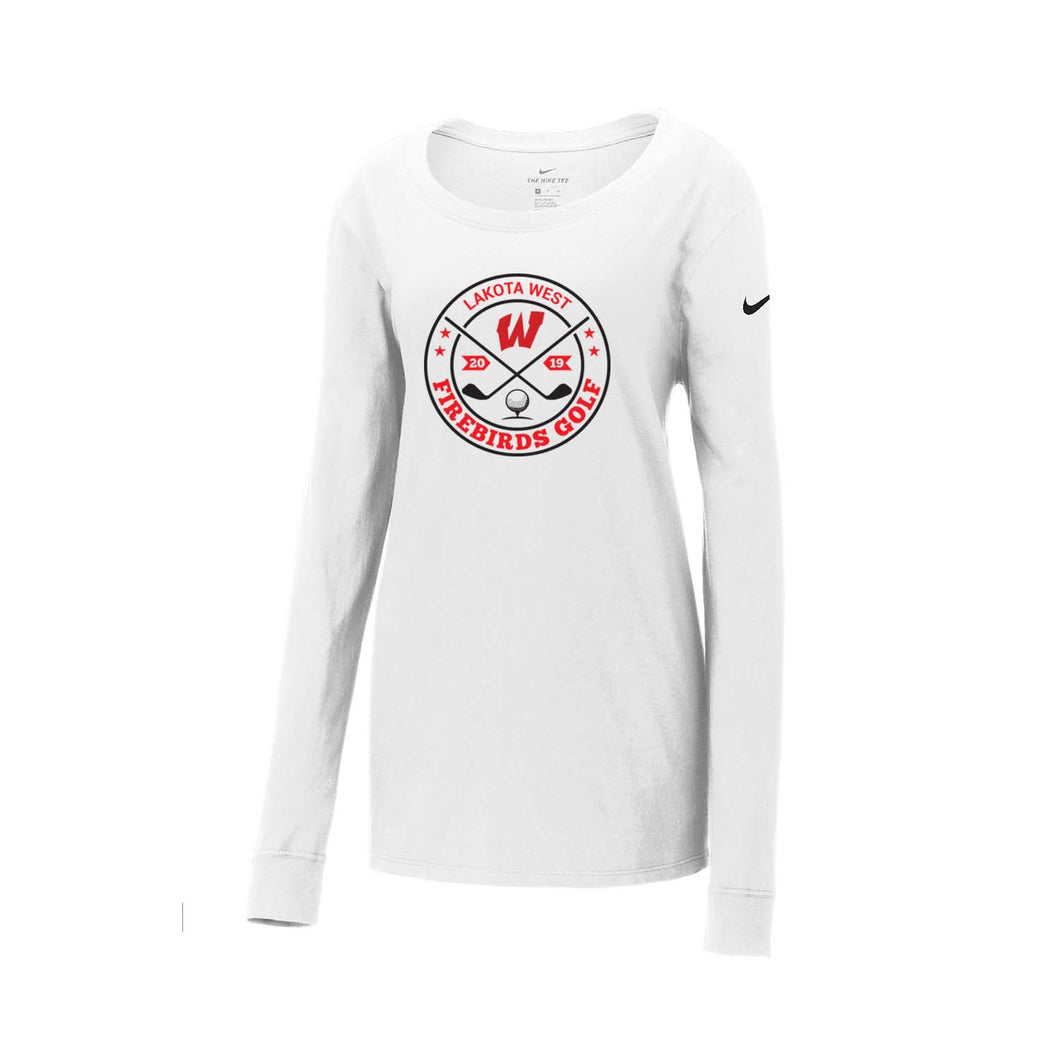 Lakota West Golf - Nike Ladies Core Cotton Long Sleeve Scoop Neck Tee (White)