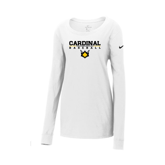 Cards Baseball Nike Ladies Core Cotton LS Scoop Neck Tee (White)