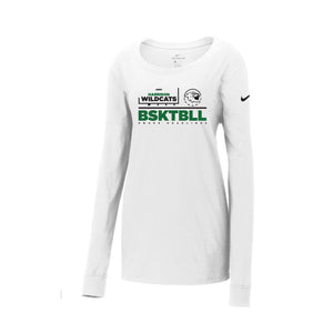 Harrison Girls Basketball 2020 - Nike Ladies Core Cotton Long Sleeve Scoop Neck Tee (White)