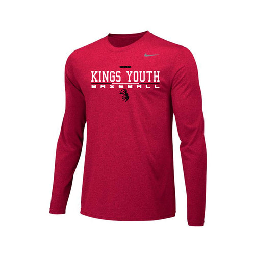 Kings Youth Baseball - Nike Team Legend LS (Red)