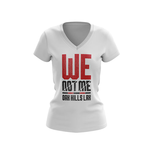 Oak Hills Lacrosse We Not Me Ladies V-Neck