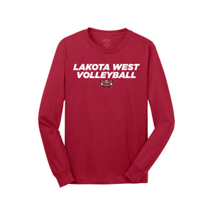 Lakota West Volleyball 2020 - Core Cotton LS Tee (Red)