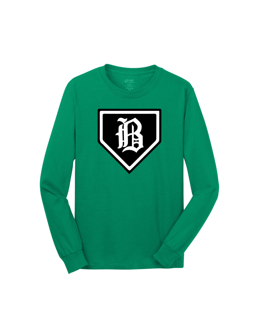 Badin Baseball - Home Plate LS Tee (Kelly Green)