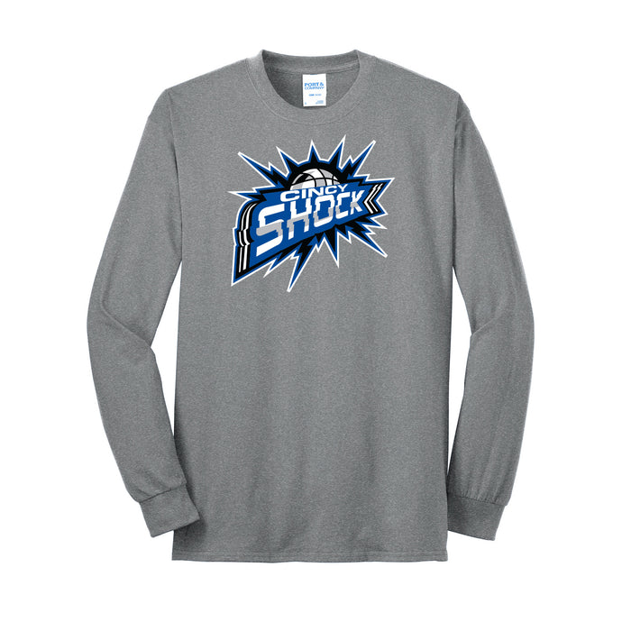 Cincy Shock Logo LS Tee (Heather Grey)