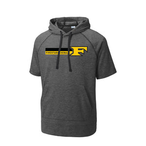 5 Star Baseball - Triblend Fleece SS Hooded Pullover (Dark Grey Heather)