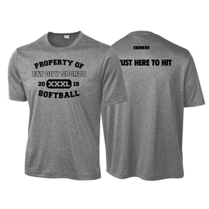 CSB - Fat Guy Sports Softball Here To Hit SS Performance Tee