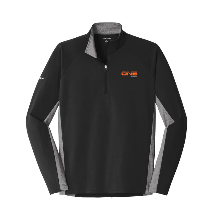 One Nation - Sport-Wick Stretch Contrast 1/2-Zip Pullover (Black/Charcoal Grey)